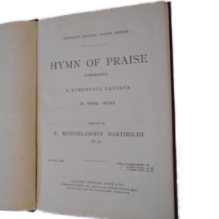 Hymn of Praise by F. Mendelssohn Bartholdy - Novello's Edition
